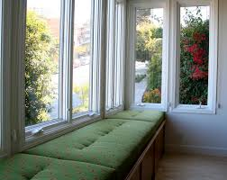 Princely Open Views Sunroom Ideas With Green Fabric Cover Window Seat  Cushions Added Wooden Hidden Drawer Storage Designs