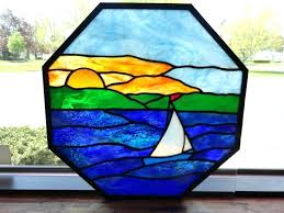 nautical stained glass octagon sailboat window nautical designs stained glass pattern book