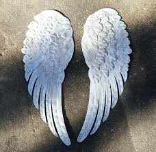 metal angel wings wall decor cross rustic shabby chic religious art white gold whole metal angel wings wall decor