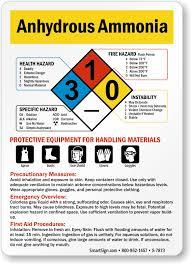 Hazardous Chemical Rating Chart Anhydrous Ammonia Hazardous Material Sign Sku S 7873