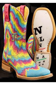 Womens Blue Neon Melt Tin Haul Boots Tin Haul Boots Tin