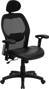 high back mesh office chair with leather effect headrest. high back super mesh office chair with black italian leather seat [lf-w42b- effect headrest