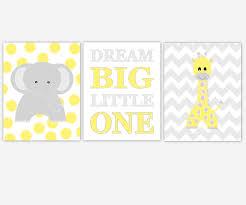 canvas prints for baby room. Baby Nursery Canvas Wall Art Yellow Gray Grey Dream Big Little One Polka Dot Elephant Chevron Giraffe Jungle Safari Zoo Animals Prints Boys For Room