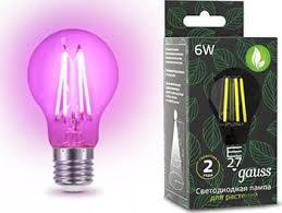 <b>Фитолампа для растений GAUSS</b> LED Fito Filament 6W E 27 ...