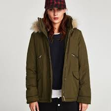zara water repellent quilted parka in dark khaki size s women s fashion clothes outerwear on carou