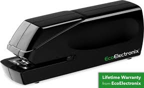 ex 25 automatic heavy duty electric stapler includes staples ac power cable extended warranty by ecoelectronix jam free 25 sheet full strip staple
