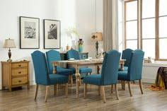habitanian solid wood dining table with 6 nailhead chairs blue