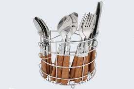 wooden handle cutlery with iron basket