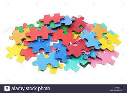 jigsaw puzzle pieces. pile of jigsaw puzzle pieces