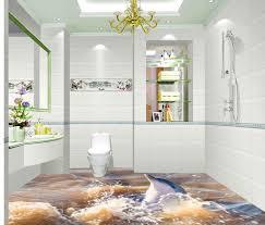 3d bathroom dolphin flood floor tiles waterproof wallpaper for bathroom wall