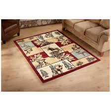 united weavers big gamers area rug print features leaves pine trees pine cones moose and elk
