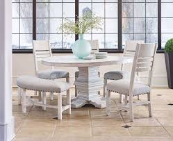 picture of condesa white round dining table with four chairs and one bench