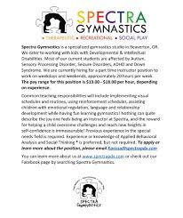 work us spectra gymnastics we offer volunteer opportunities as well