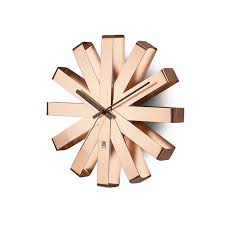 umbra ribbon wall clock copper jonzara