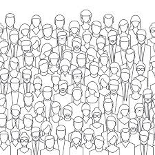 The Crowd Of Abstract People Line Style Flat Design Vector