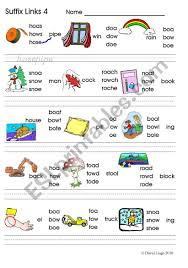 These free worksheets help your kids learn to define sounds from letters to make words. Suffix Links 3 Oa Ow Oe O E Phonics Worksheet Colour And B W Updated Esl Worksheet By David Lisgo