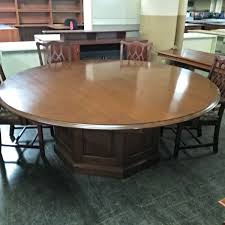 99 00 7 foot round wood conference table