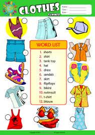 Summer Word List Summer Clothes Esl Printable Worksheets For Kids 3