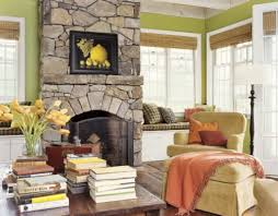 Furniture:Provence Country Decor With Stone Fireplace And Soft Brown Single  Sofa And Ottoman Also
