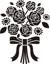 画像サンプル バラの花束白黒 Pattern バラ イラストバラの花束