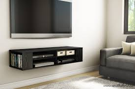 ... Wall Mounted Entertainment Shelves Wall Mounted Media Console Black Tv  Stand Entertainment Center Floating Cabinet Sofa ...
