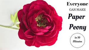 Peony Paper Flower How To Make Red Peony Paper Flower From Crepe Paper Craft Tutorial