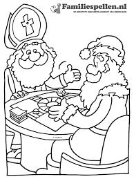 Kleurplaat Sinterklaas En Kerstman Spelen Trivial Persuit