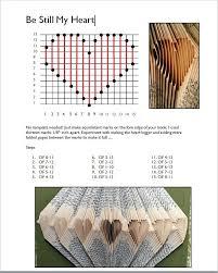 folded book pattern template heart