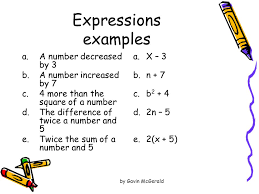 translate word phrases into algebraic expressions and word sentences into 2 expressions