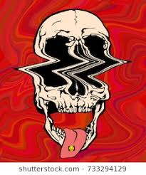 vector ilration of skull on acid on trippy red background