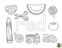 Color Red Worksheet Coloring Page Pages Activity Sheet Teaching