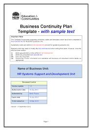 Business Continuity Plan Template Tristarhomecareinc