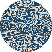 gct1031 8rnd 8 round fl navy blue indoor outdoor rug garden city