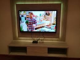 wall mounted tv stand with neon led lights or white lights