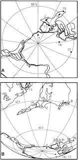 Fig 2 a map indicating south polar view of the gondwana and perigondwana
