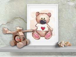 wall nursery decor teddy bear art digital print kids room wall decor watercolor