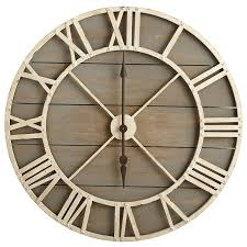 ... Captivating Rustic Large Wall Clock Rustic Table Clock Whte Iron And  Grey Wood Analog ...