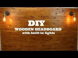 diy wooden headboard with built in lights