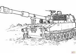 M109 Houwitser Gemotoriseerd Kanon Kleurplaat Gratis Kleurplaten
