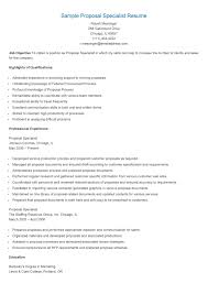 Sample Proposal Specialist Resume Resame Pinterest Proposals