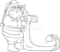 Santa Claus Reads From Christmas List Coloring Page Stock Vector