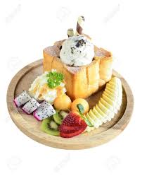 Ice Cream Server Honey Toast Server With Ice Cream And Mixed Fruits In Thai Cafe