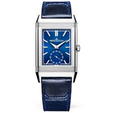 reverso tribute blue sunray dial leather strap