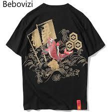 <b>Bebovizi</b> Japanese Streetwear Hip Hop Ukiyo E Koi T-Shirts <b>Men</b> ...