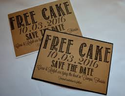 Free Cake Save The Date Cards Funny Kraft Rustic Save The Date Card