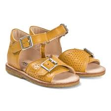 yellow leather buckle sandals