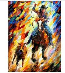 best hand painted figure oil painting on canvas acrylic paintings palette knife cowboy horses picture abstract home decor wall art under 104 53 dhgate