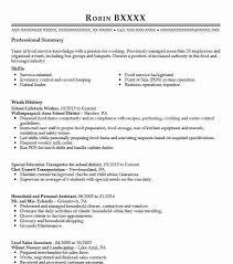Cafeteria Worker Resume