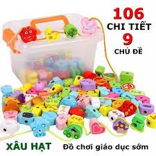 Đồ chơi trẻ em xâu hạt 106 chi tiết 9 chủ đề phát triển kỹ năng vận động  tinh sự tập trung và quan sát cho bé từ 2 đến 5 tuổi