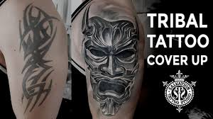 Tribal Tattoo Cover Up Japanese Oni Mask One Session Salvation Tattoo Studio